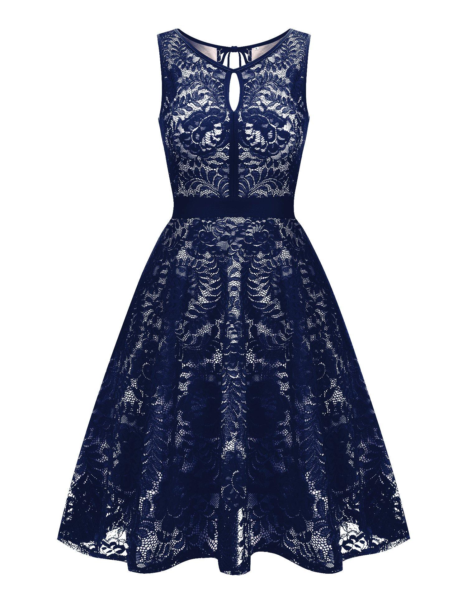 Uniboutique Women's Floral Lace Sleeveless Elastic Waist Pleated Swing Dress Navy Blue XL