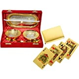 Me&You Gold & Silver Plated Brass Bowl,Spoon & Tray Set Of 5 Items
