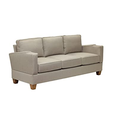 Simplicity Sofas 13ASEEGG-SS the Designer Collection Solid Oak Frame RTA Full Size Sofa for Small Spaces and Tight Places, Sand Stone