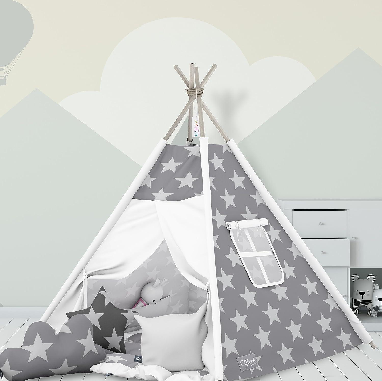 Teepee, tenda indiana Elfique, con doppia coperta imbottita e tre cuscini tenda indiana Elfique Klara Brist