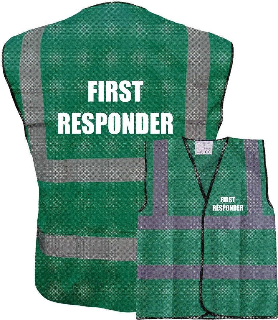 FIRST RESPONDER Para Green Hi-Vis High-Vis Visibility Safety Vest//Waistcoat