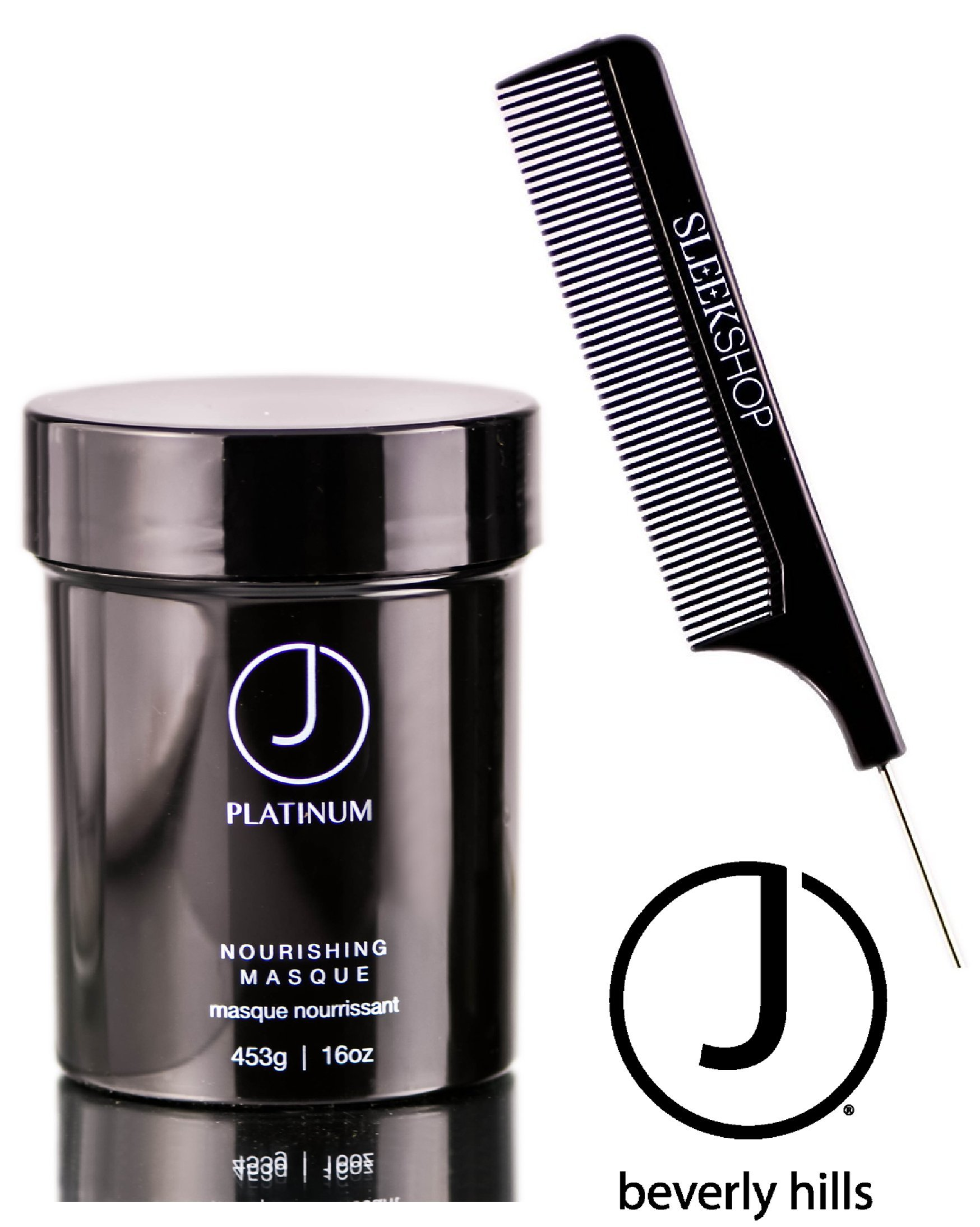 J Beverly Hills Platinum Nourishing Masque (with Sleek Steel Pin Tail Comb) (16 oz / 453 g - large PRO size)