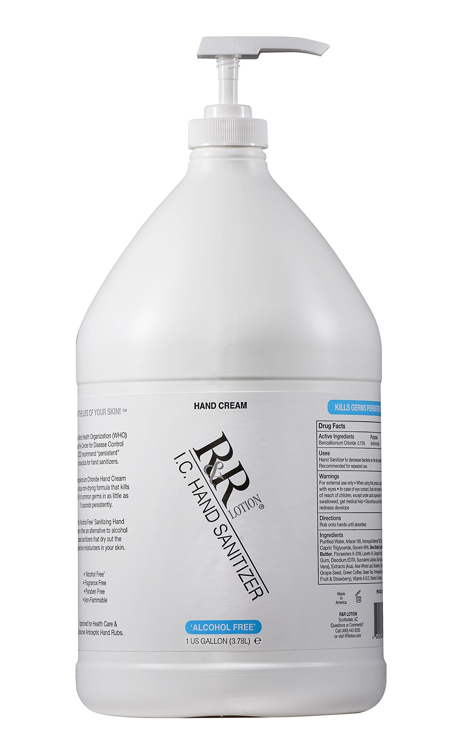 Hand Sanitizer Alcohol-Free Re-Moisturizing Cream Using BZK to Kill 99.99% of Germs Persistently. Re-moisturizes Using Sunflower & Shea Butter, 14 Botanicals and Succulents Along with VIT. 128oz by R&R Lotion