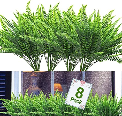 Ruiuzioong Juego de 4 flores artificiales para exteriores arbustos verdes para interiores y exteriores para decoraci/ón del hogar y jard/ín rojo rosa resistentes a los rayos UV