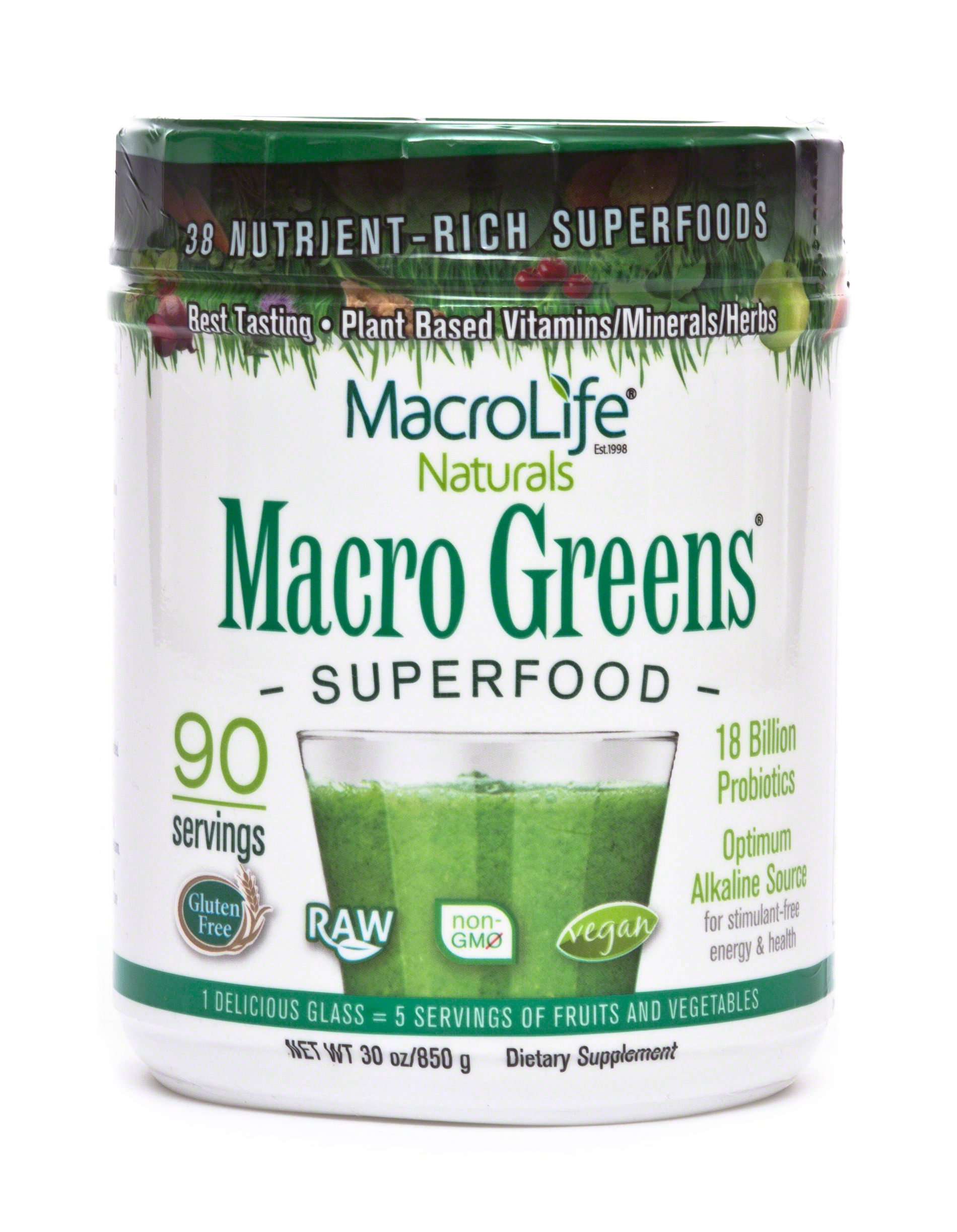 Macro Greens Superfood - 18 Billion Non-Dairy Probiotic Cultures - Raw Green Superfood With Concentrated Polyphenols - Certified Organic Barley Grass Powder - 5+ Servings Of Fruits & Vegetables by MacroLife Naturals