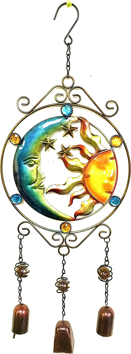 Bejeweled Display Moon and Sun Faces w/Stained Glass Wind Chimes Bell