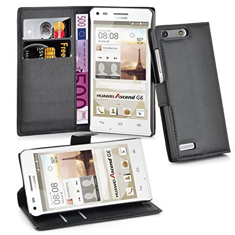Cadorabo Carcasa para Huawei G6 móvil en Phantom Negro Funda con Tarjetero Y Función Atril Case Cover Carcasa Funda Book Style Phantom de Negro