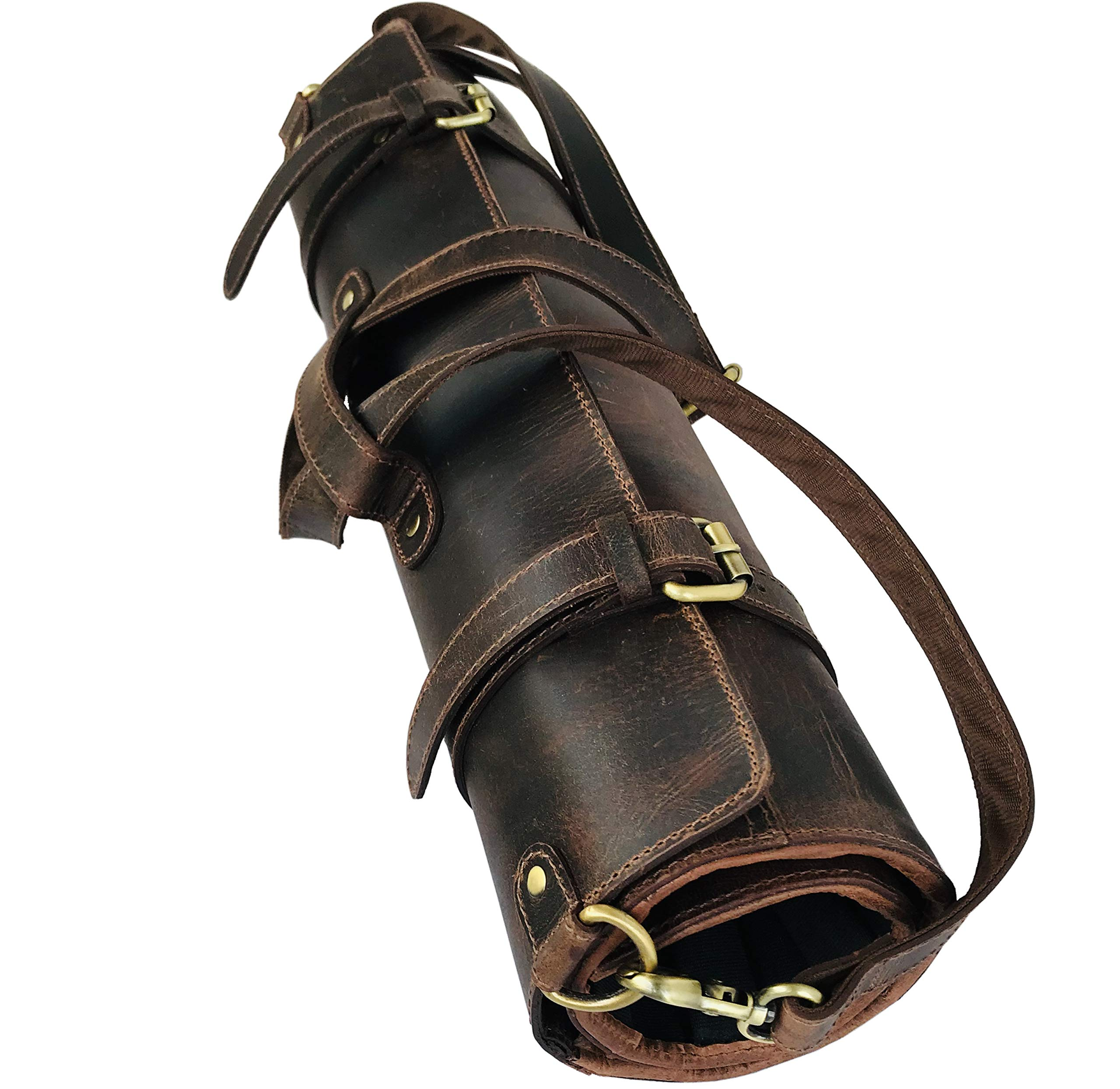 Leather Knife Roll Storage Bag | Elastic and Expandable 10 Pockets | Adjustable/Detachable Shoulder Strap | Travel-Friendly Chef Knife Case Roll by Aislinn Leather