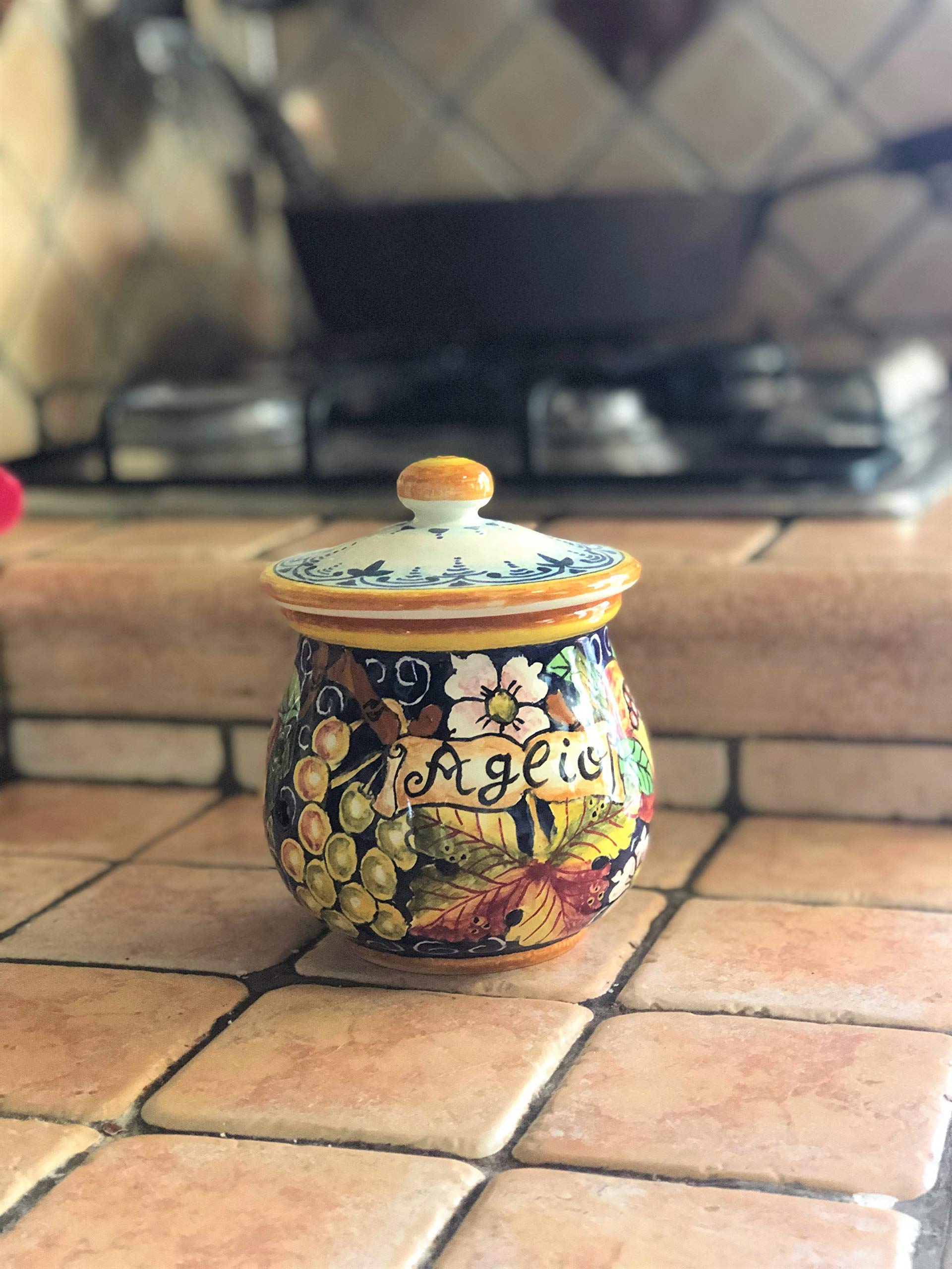 CERAMICHE D'ARTE PARRINI- Italian Ceramic Garlic Brings Jar Holder Hand Painted Made in ITALY Decorated Grape Tuscan Art Pottery by CERAMICHE D'ARTE PARRINI since 1979 (Image #3)