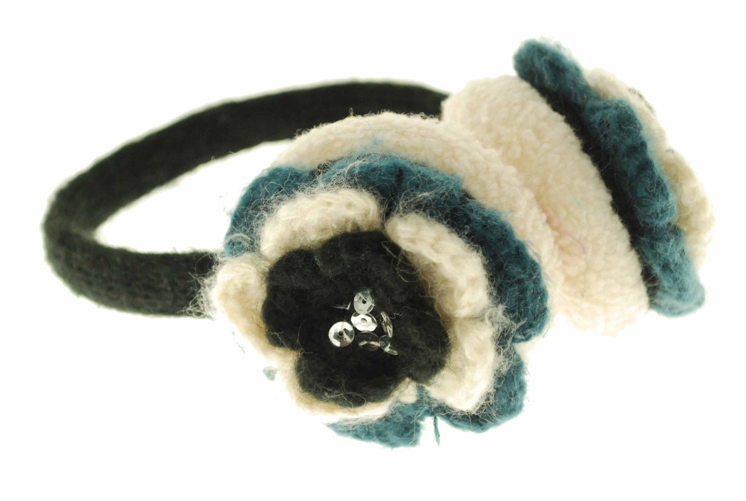 American Rag Flower Ear Muff (One Size, Black Combo)
