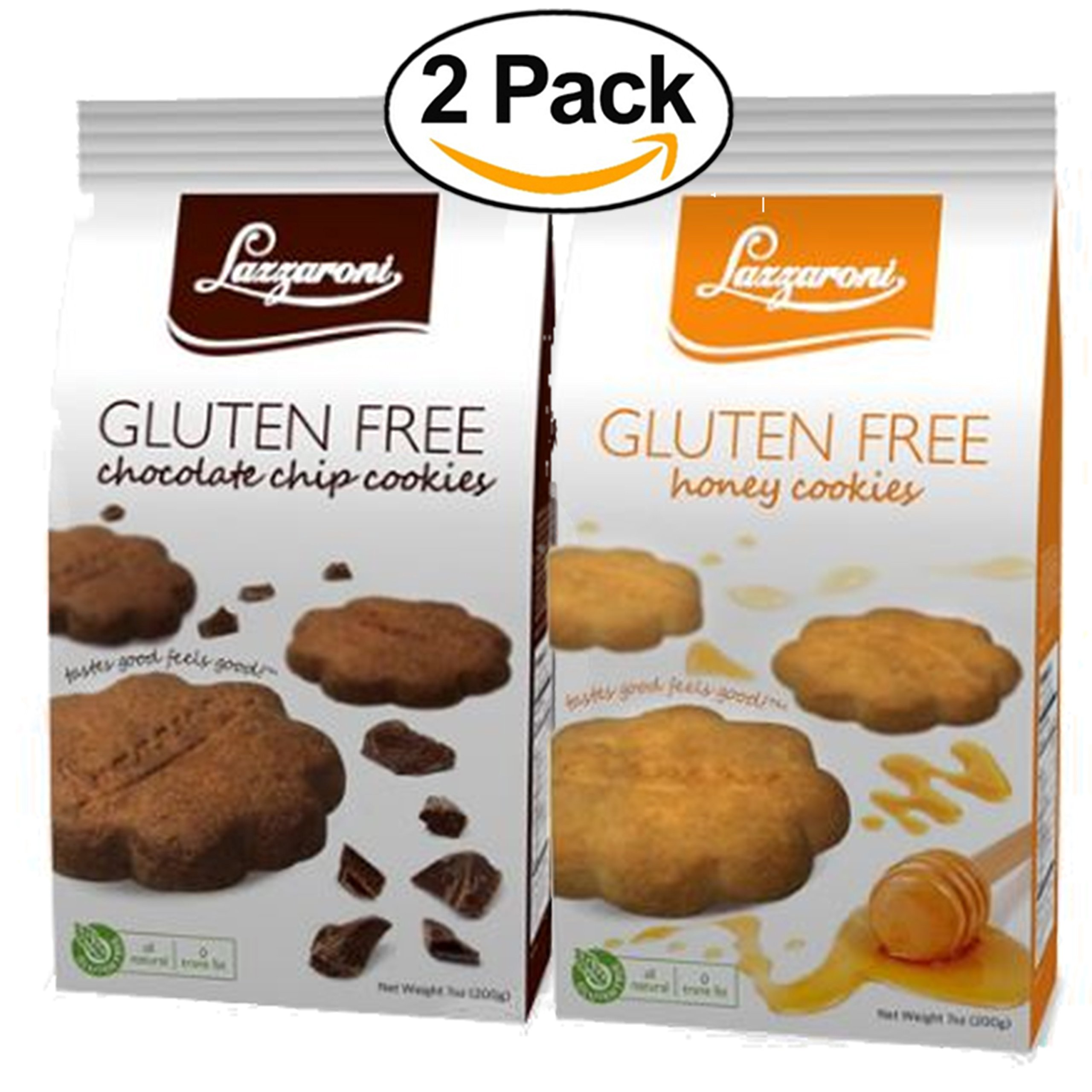 Lazzaroni Gluten Free Honey Cookies 7oz % Cocoa Chip Cookies 7oz BUNDLE