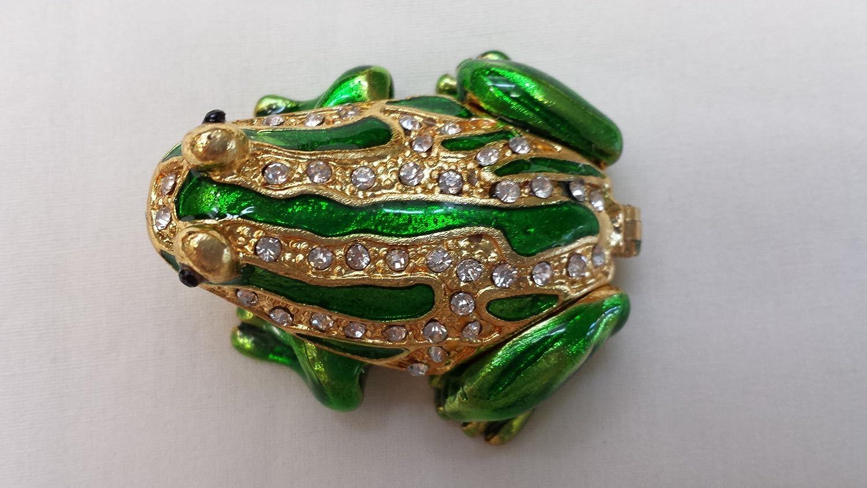 Amazoncom Gorgeous Miniature Frog Jewelled Trinket Box Jewelry Box
