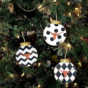 Texas Longhorns Christmas Tree Ornaments (Set of 3)