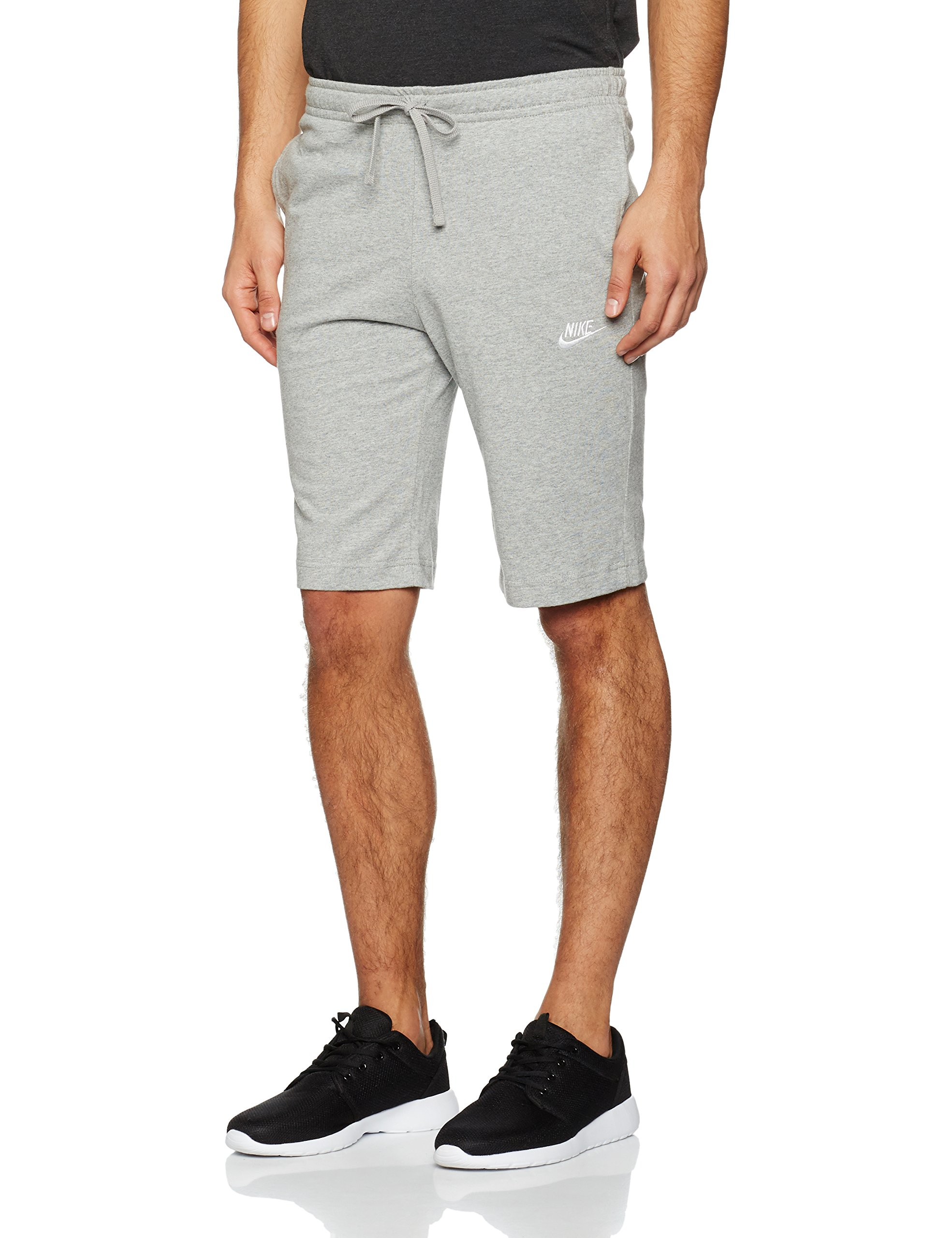 NIKE Sportswear Men's Jersey Club Shorts, Dark Grey Heather/White, Medium