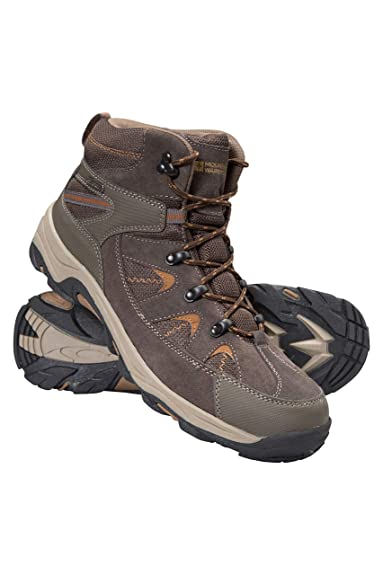 eeac60943680a Mountain Warehouse Rapid Mens Boots - Waterproof Rain Shoes, Leather Suede  Walking Shoes, Good Grip Hiking Boots, Mesh Lining, Heel & Toe Bumpers - ...