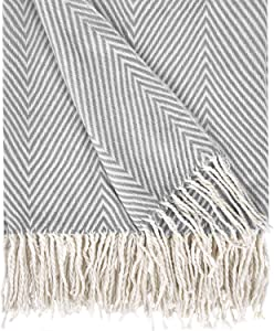 VERTKREA Herringbone Stripe Throw Blanket Decorative Soft Cashmere Blankets with Fringe 50 × 60 Inch Fuzzy Cozy Chevron Throws Lightweight for Bed, Sofa, Office, Car, Indoor, Outdoor, Gray and White