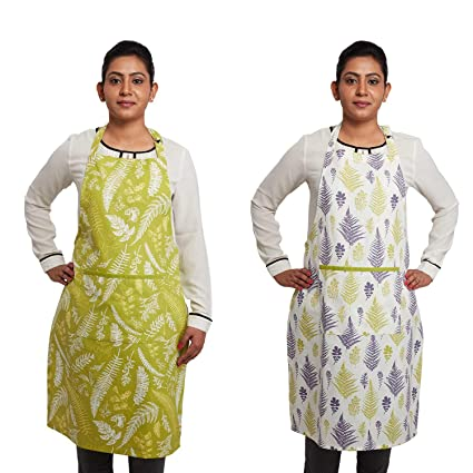 Amazon Brand - Solimo 100% Cotton Kitchen Apron Set, Ferns (Pack of 2, Green and White)