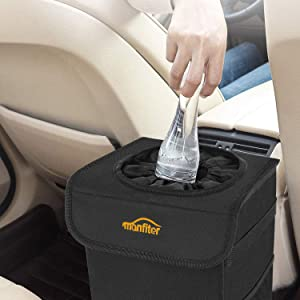 """Manfiter Car Trash Can with Lid and Storage Pockets, 2.5 Gallon Auto Car Garbage Can, 100% Leak-Proof Car Trash Container, Waterproof Car Trash Bag, Hanging Car Trash Bin,8"""" X 12'' X 6"""""""