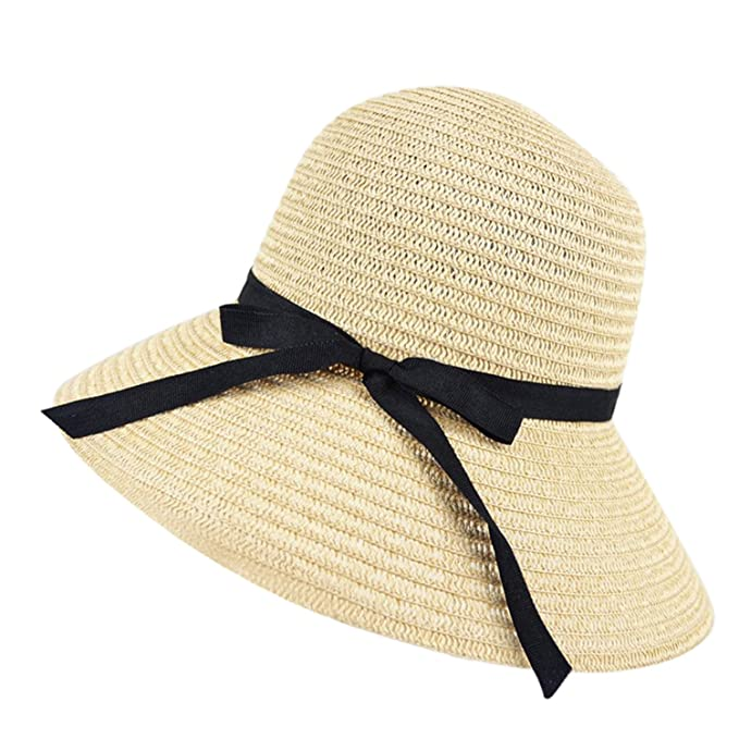 c544282ac New Women Wide Brim Summer Beach Sun Hat Straw Floppy Elegant ...