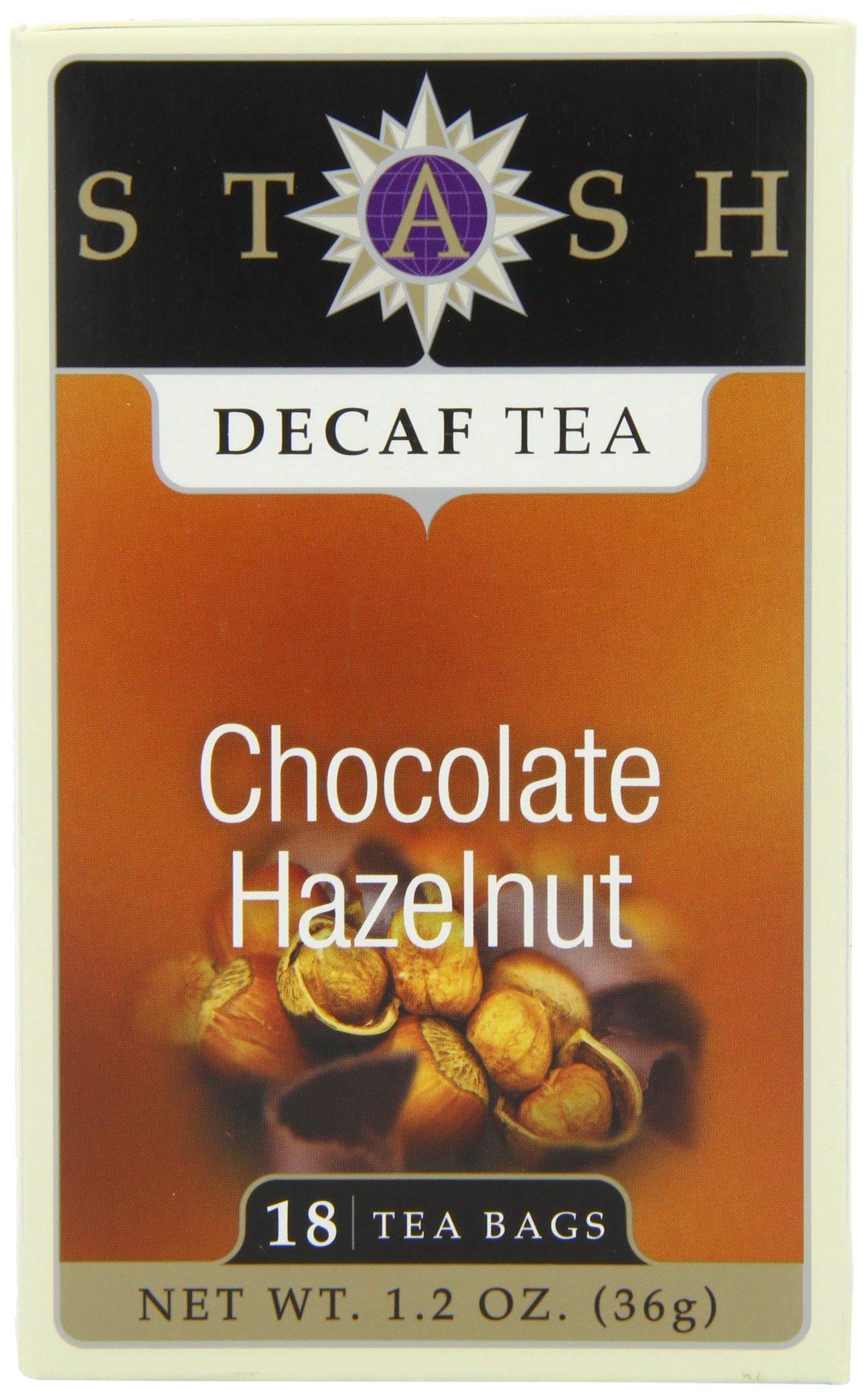 Stash Tea Decaf Chocolate Hazelnut Tea, 18 Count Tea Bags in Foil (Pack of 6)