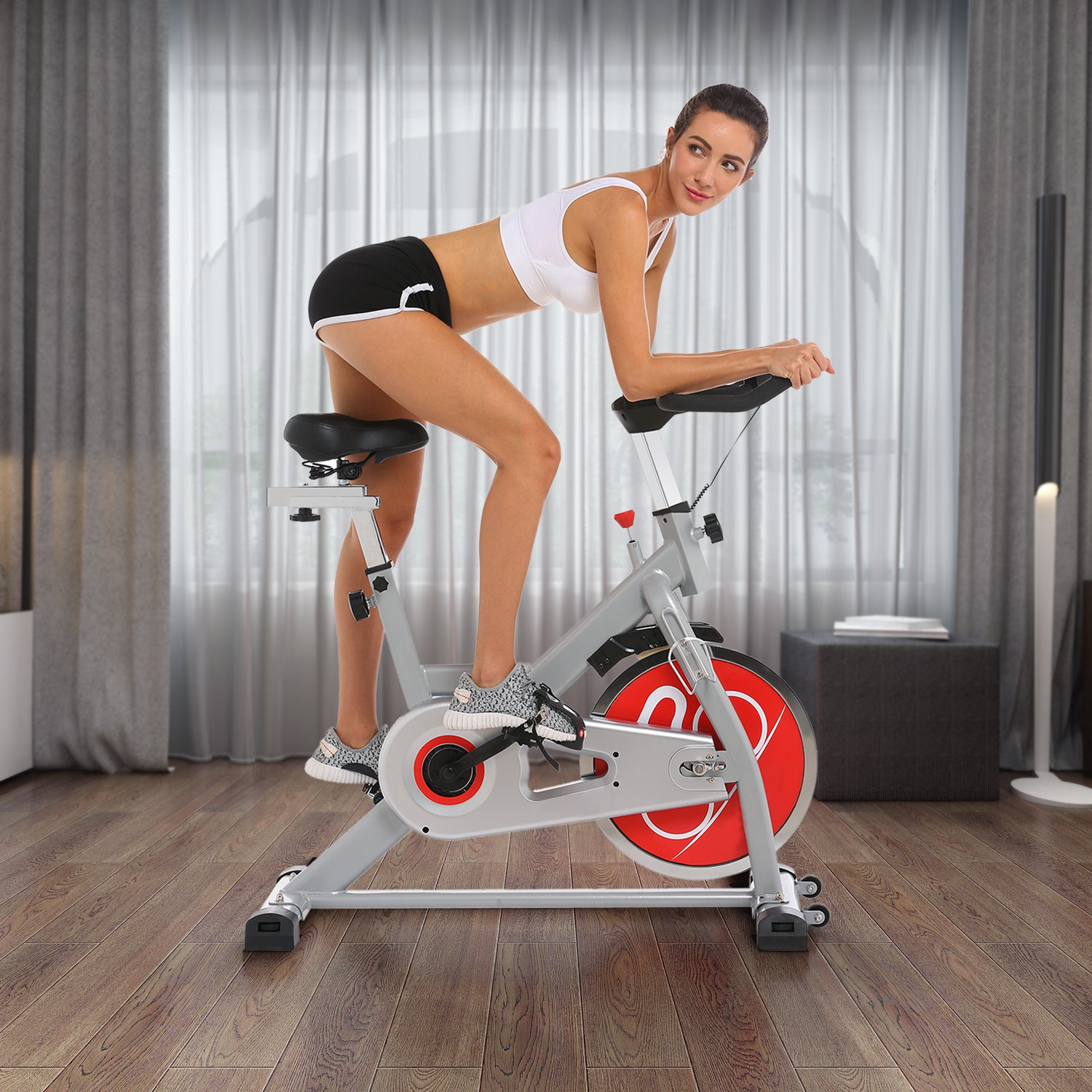 ANCHEER Indoor Cycling Bike, Belt Drive Indoor Exercise Bike with 49LBS Flywheel (Sliver) by ANCHEER (Image #3)
