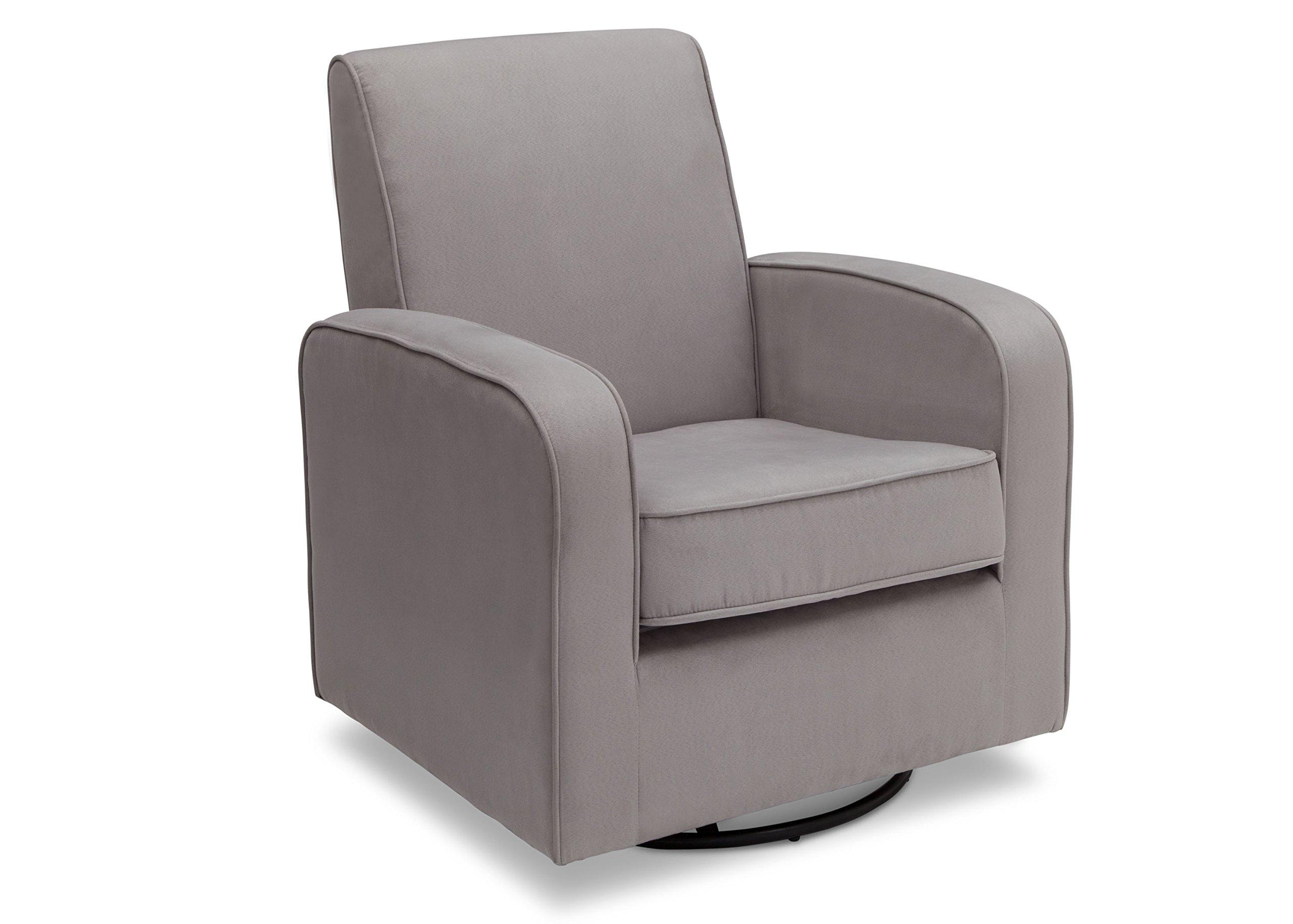 Delta Furniture Chloe Upholstered Glider Swivel Rocker Chair, Grey