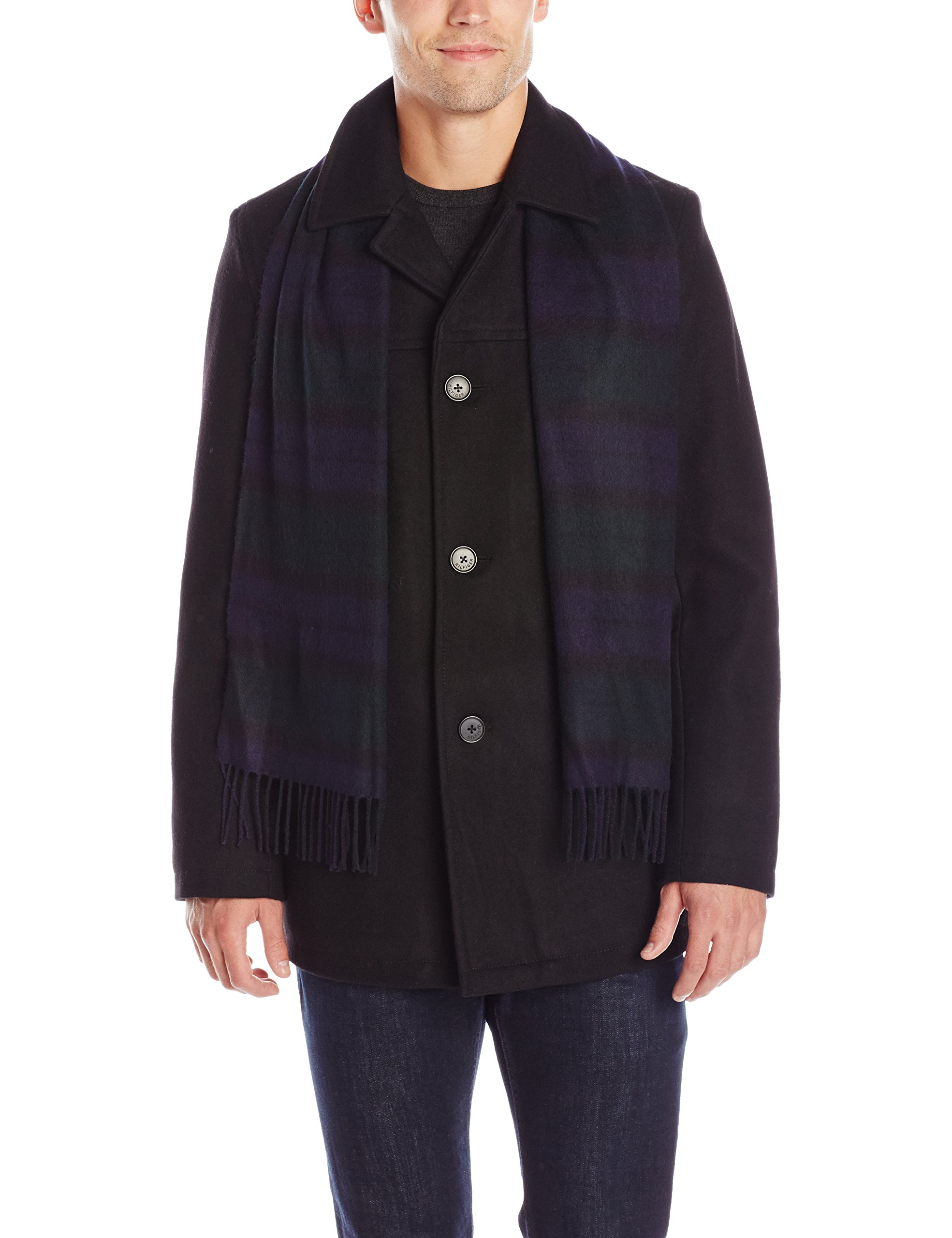 Tommy Hilfiger Men's Wool Melton Walking Coat with Detachable Scarf, Black, X-Large by Tommy Hilfiger