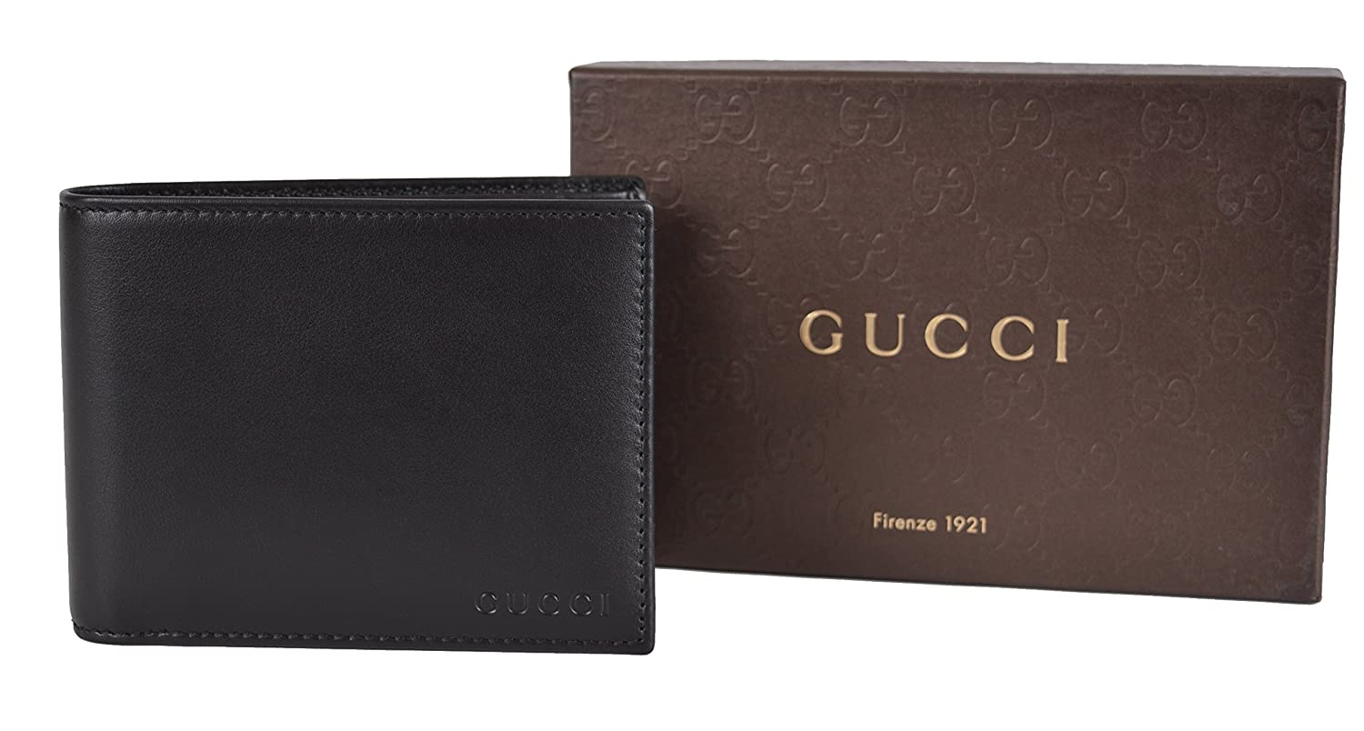 c88a4f732daf Amazon.com: Gucci Men's Black Leather Embossed Logo Bifold Wallet W/Removable  ID: Clothing