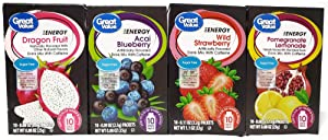 Great Value Energy Drink Mix Variety Bundle, 0.88-1.13 oz box with 10 Drink Packets (Pack of 4) includes 1-Box Blueberry Acai + 1-Box Wild Strawberry + 1-Box Dragon Fruit + 1-Box Pomegranate Lemonade