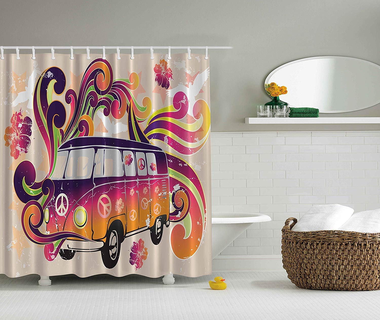 84 Inch Long Shower Curtains Boho Decor Peace Van Funny Minivan Caravan Hippie Hippy Bohemian Cute Minivan Peace Sign Symbol Emblem Paisley Extra Long Explorer Decor Beige Purple Orange Yellow Black 60X72 Inch Lagle &