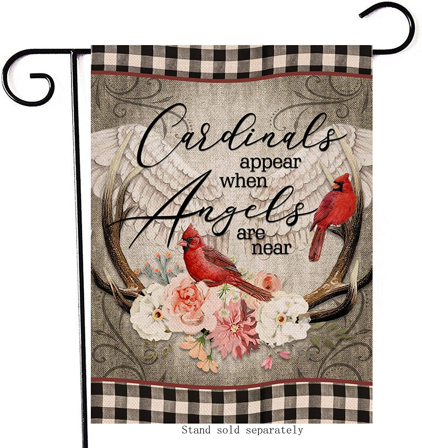 Cardinals Appear When Angels are Near Home Decorative Garden Flag, Buffalo Check Plaid House Yard Red Bird Wings Decor Double Sided, Winter Outside Decoration Farmhouse Outdoor Small Flag 12x18