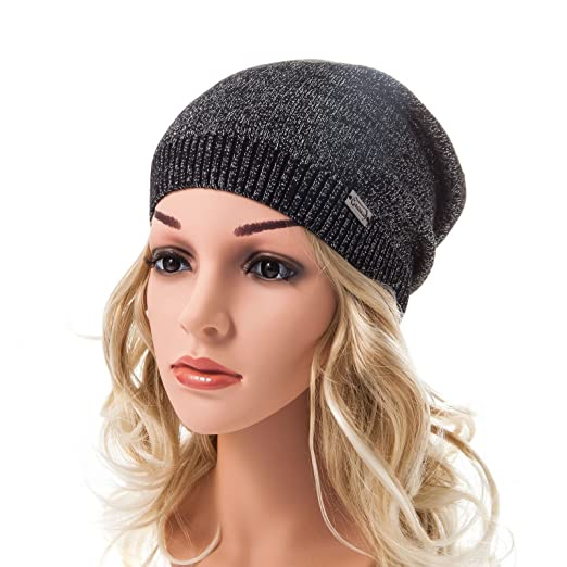 Slouch Beanie Women Big - Ladybro Silver Threads Beanies Angora Knit Cap Womens  Hat Crochet Warm 6a6609c28