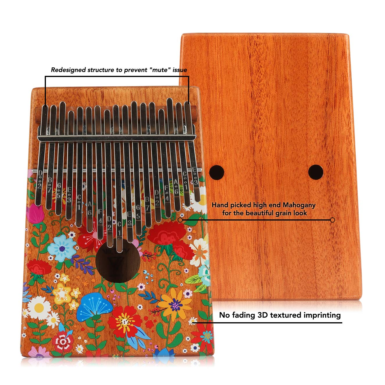 VI VICTORY 17 Key Colorful Kalimba African Thumb Piano Finger Percussion Keyboard Music Instruments - Carnation by VI VICTORY