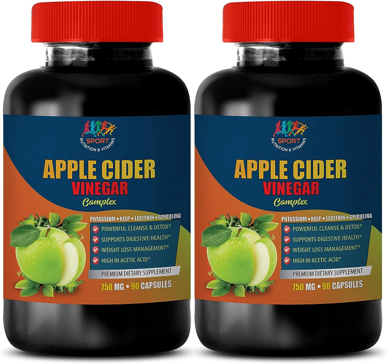 Digestive Health Supplement - Apple Cider Vinegar Complex 750 MG - Apple Cider Vinegar Fat Burner Pills - 2B (180 Capsules)