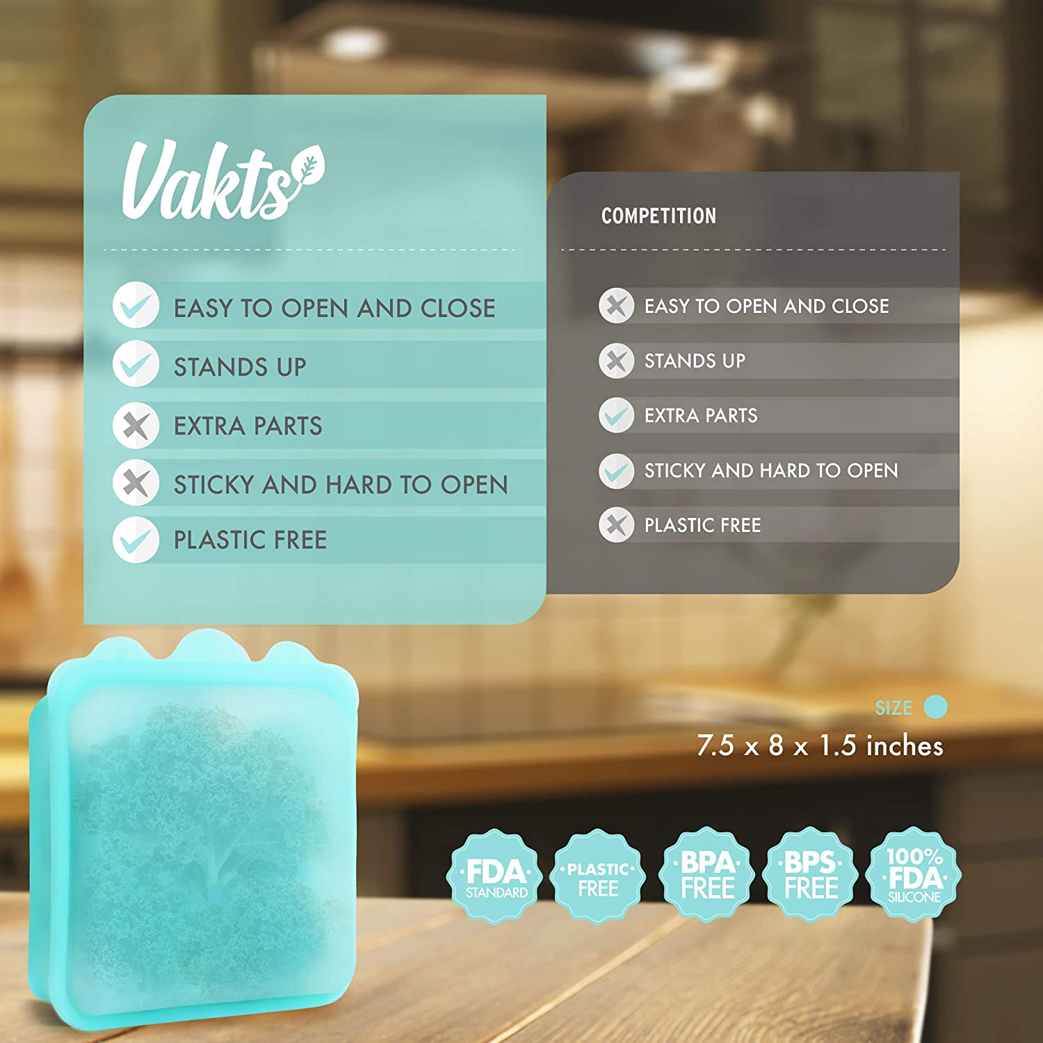 VAKTS Premium Silicone Reusable Food Bag - Larger 5 cup capacity Zip Top storage bags for Sandwiches, Meat, Fish, Sous Vide, Liquid, Snack, School Lunch, Fruit, Freezer. Easy Open and Close. Aqua Blue