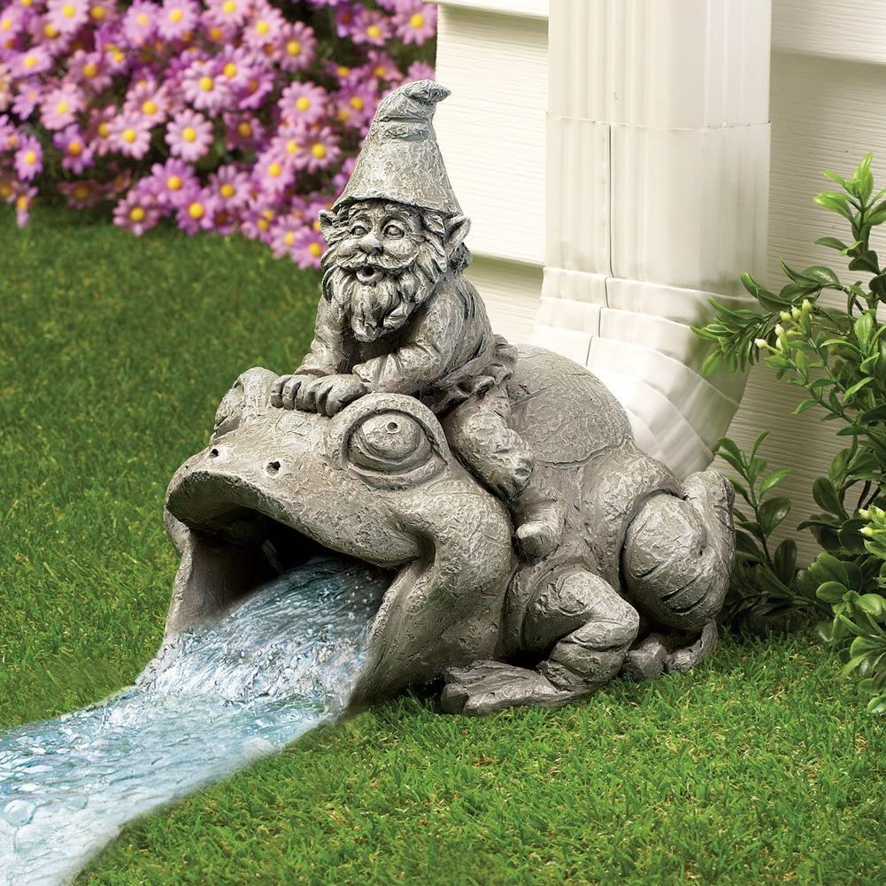 APC Goods Cute and Playful Gnome Riding Frog Downspout Outdoor Extension Decoration