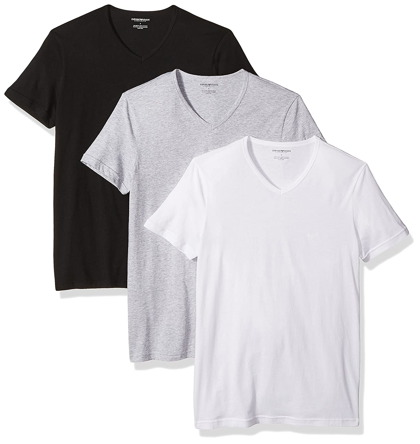 Emporio Armani Men's 3-Pack Regular Fit V-Neck Undershirt