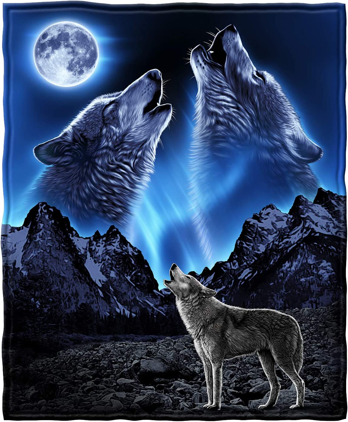 "Dawhud Direct Super Soft Full/Queen Size Fleece Blanket, 75"" x 90"" (Wolves Howling Moon)"