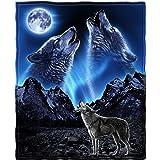 Dawhud Direct 超柔软全大号/中号羊毛毯,75 英寸 x 90 英寸 Wolves Howling Moon 75 x 90