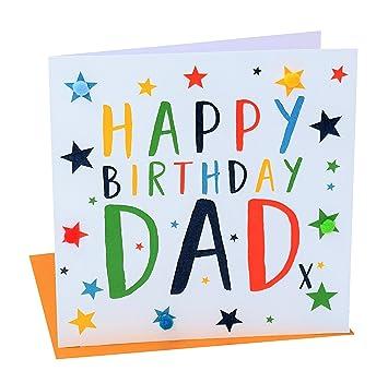 Pom Pom Pom016 Happy Birthday Dad Greeting Card Amazon Co Uk