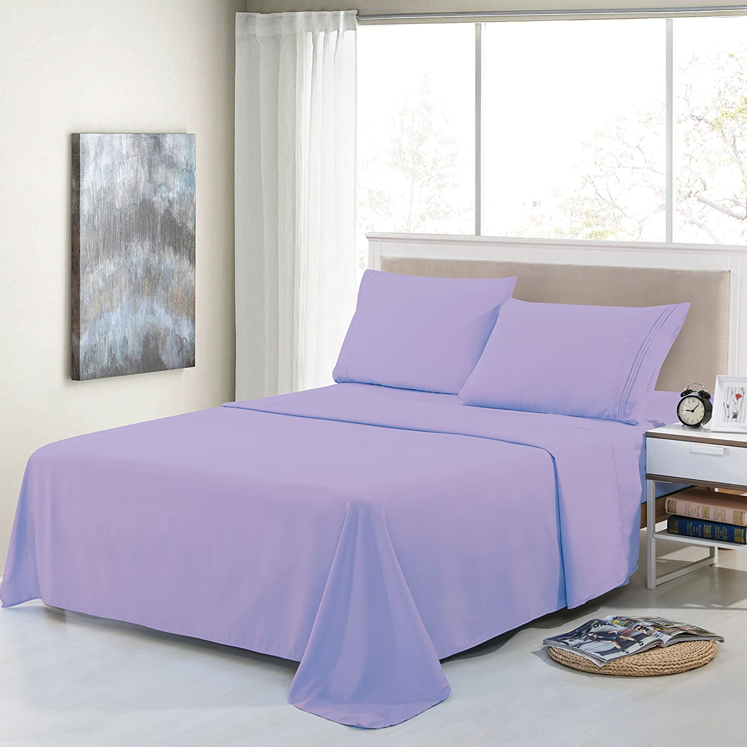 Premium Egyptian Luxury 1800 Hotel Collection Embroidery 3 Piece Bed Sheet Lavender