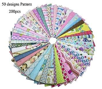 Algodón Tela Patchwork DIY Artesanía textil tejido cuadrado surtido con diferentes patrones para DIY Costura Quilting