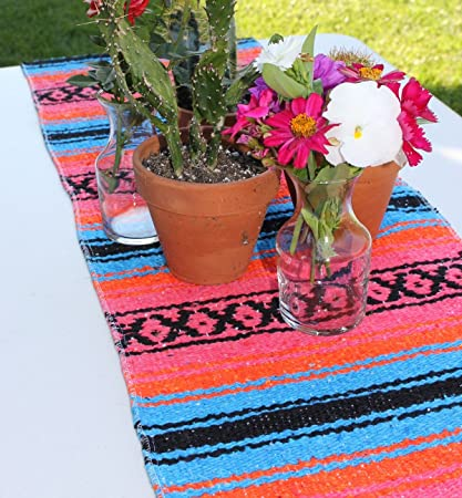 Remarkable Del Mex Tm Traditional Falsa Mexican Blanket Table Runner Turquoise Pink Orange Download Free Architecture Designs Intelgarnamadebymaigaardcom