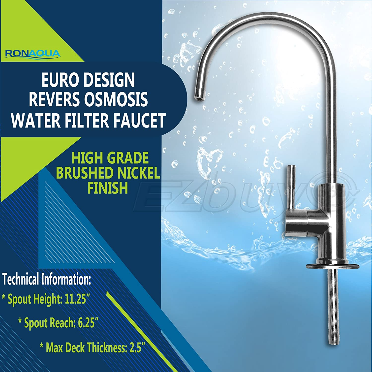 Amazon com  Ronaqua Water Filter Purifier Faucet European Style Brushed Nickel Home Improvement