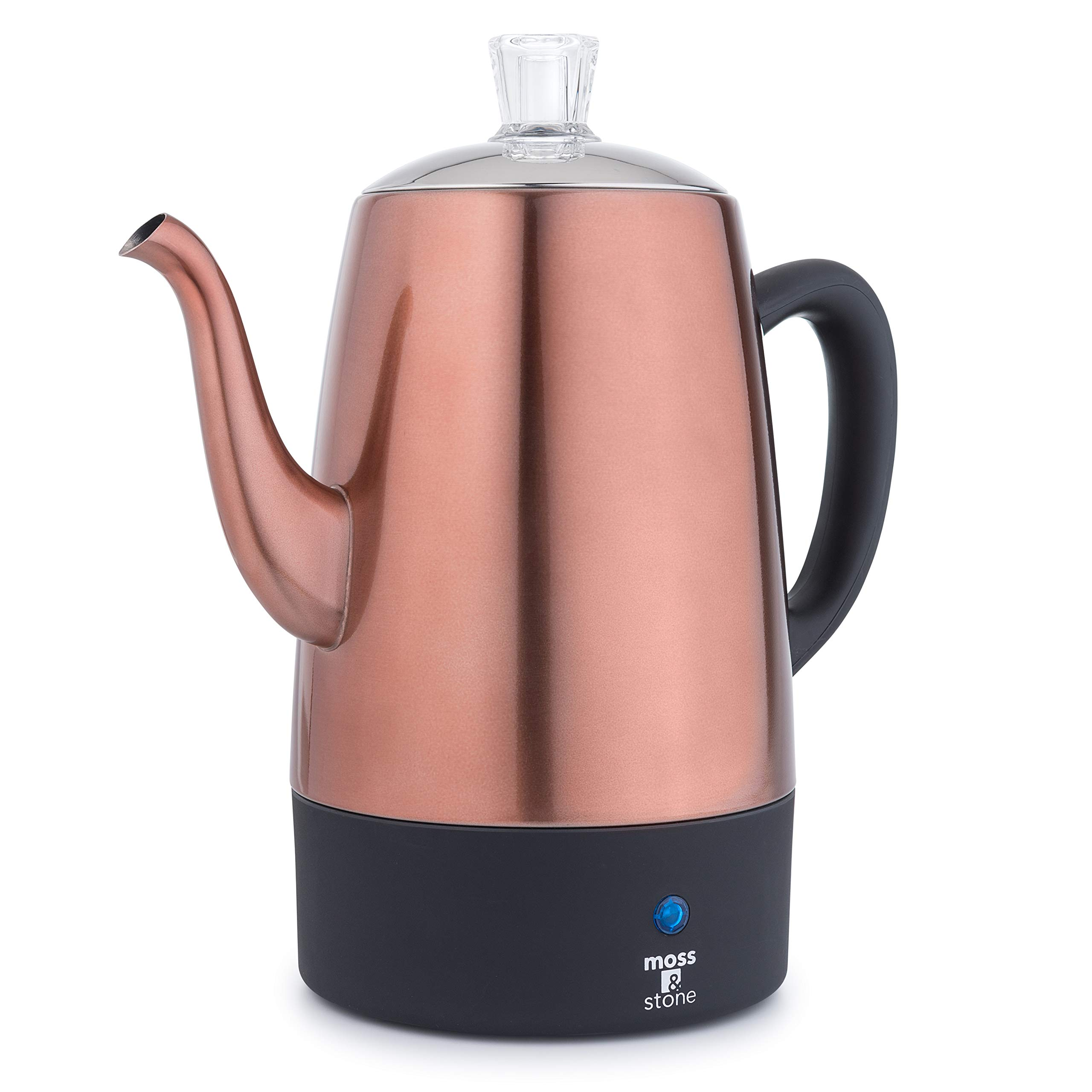 Moss & Stone Electric Coffee Percolator | Copper Body With Stainless Steel Lids Coffee Maker | Percolator Electric Pot - 10 cups by Moss & Stone