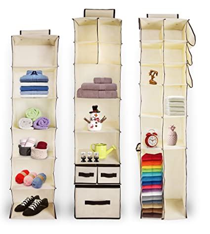 Beau Hanging Storage Organizer Set Of 3 For Clothes, Shoes U0026 Fabric | In Closet