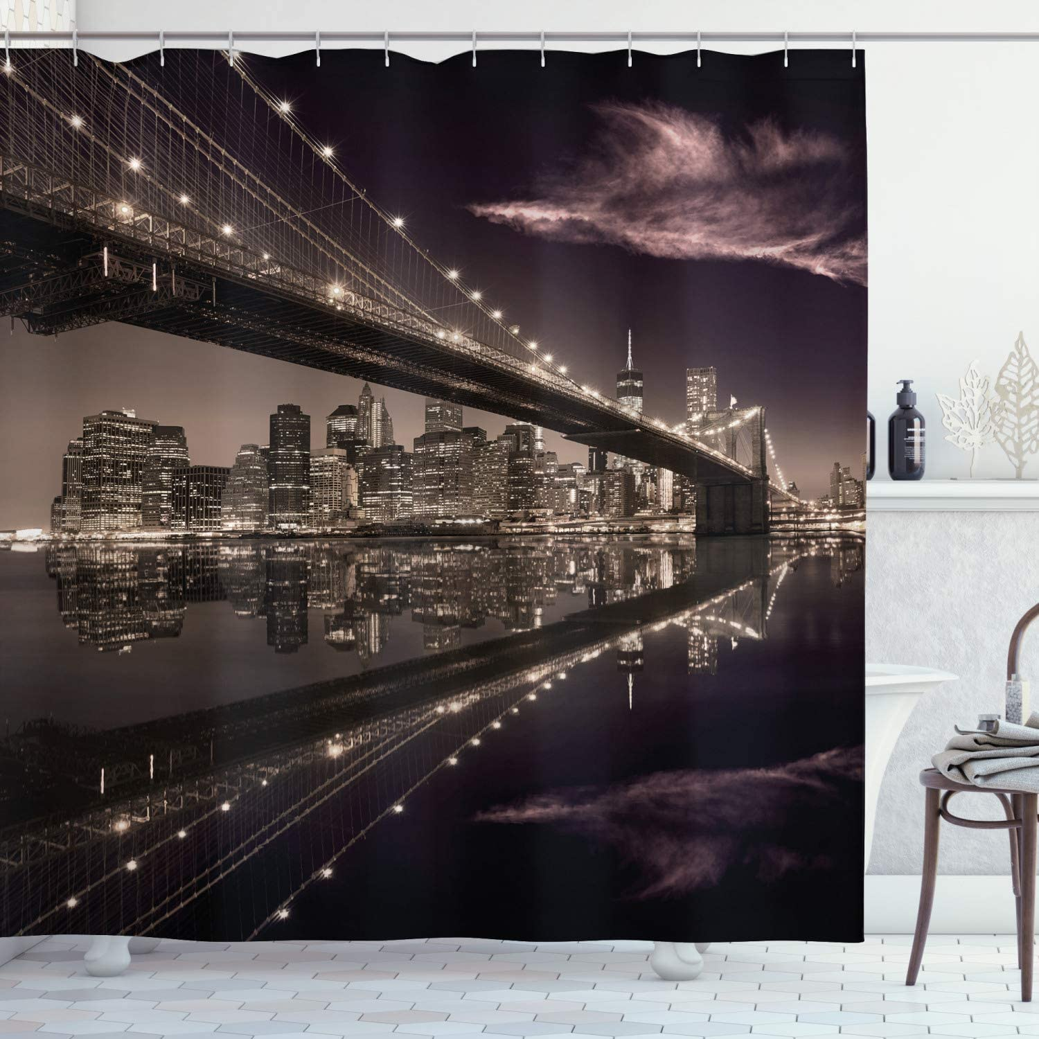 "Ambesonne Landscape Shower Curtain, Brooklyn Bridge Sunset NYC View Skyline Tourist Attraction Modern City, Cloth Fabric Bathroom Decor Set with Hooks, 70"" Long, Brown Rose"