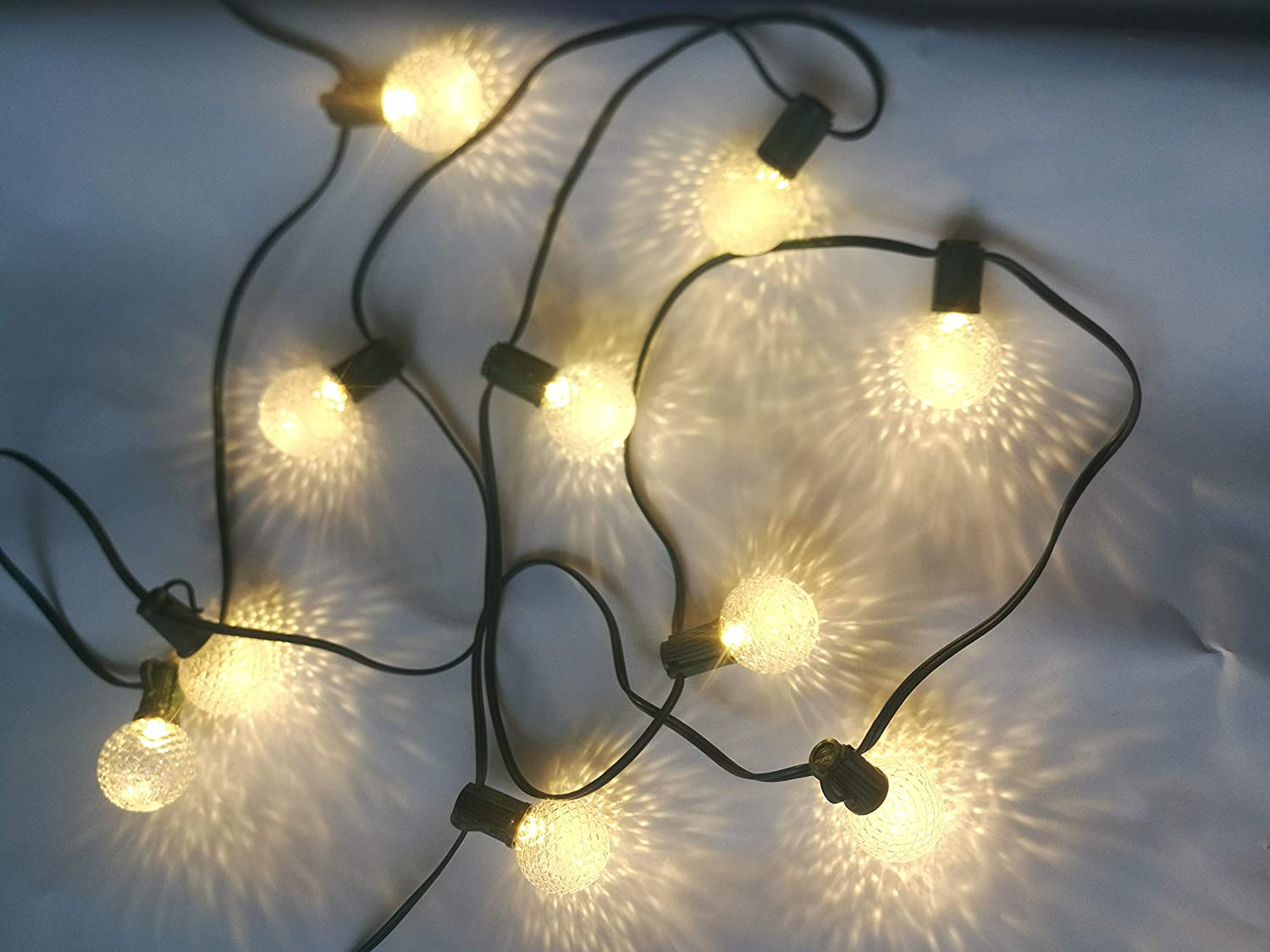 E12 Base G40 Bulb Patio Commercial Grade Light String 12pcs G40 Fairy Lights 4aa Battery Operated String Lights Outdoor Holiday Festival Xmas Lights with Remote