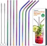 Savisto Reusable Straw Set (8 Pack) Eco Friendly, BPA-Free Metal Straw Pack, Includes 4x Straight & 4x Angled Stainless Steel Straws & 2 Cleaning Brushes for Cocktails, Smoothies & More – Rainbow