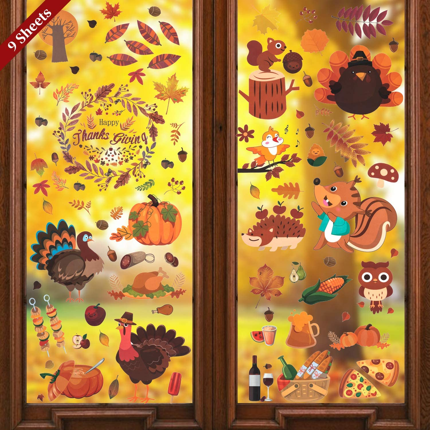 LessMo 176 Pcs Thanksgiving Clings Decor, Autumn Fall Window Stickers, Fall Maple Leaves Acorn Turkey Pumpkin Decals, for Kids Gift, Autumn Harvest Festival Decorations, Home Office Party Supplies